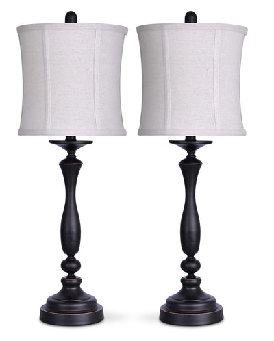 Oil-Rubbed Bronze 2-Piece Table Lamp Set with Linen Shade|Ensemble 2 lampes de table au fini bronze huilé avec abat-jour en lin|ST9030PK