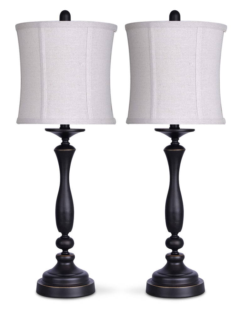 Oil-Rubbed Bronze 2-Piece Table Lamp Set with Linen Shade|Ensemble 2 lampes de table au fini bronze huilé avec abat-jour en lin