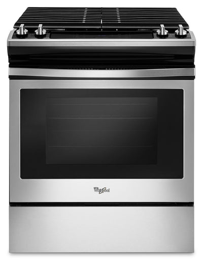 Whirlpool 5.0 Cu. Ft. Front Control Gas Range with Cast-Iron Grates - WEG515S0FS - Gas Range in Stainless Steel/Black