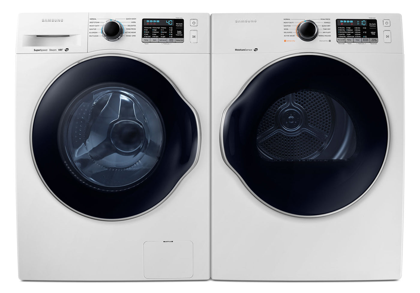 Samsung Compact 2 6 Cu  Ft  Front-Load Washer and 4 0 Cu  Ft  Electric  Dryer – White