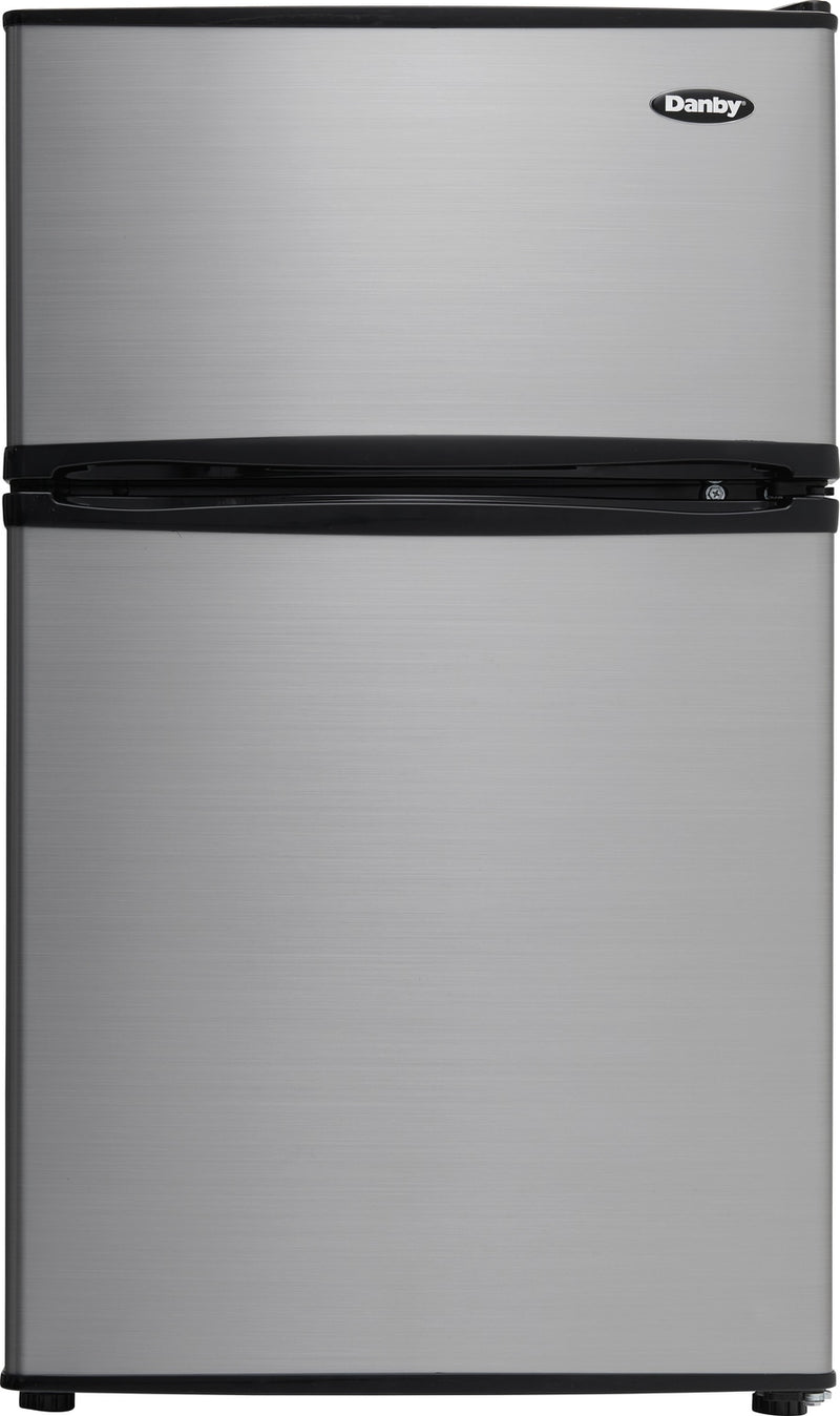 Danby 3.2 Cu. Ft. Compact Refrigerator with Freezer – DCR031B1BSLDD - Refrigerator in Stainless Look