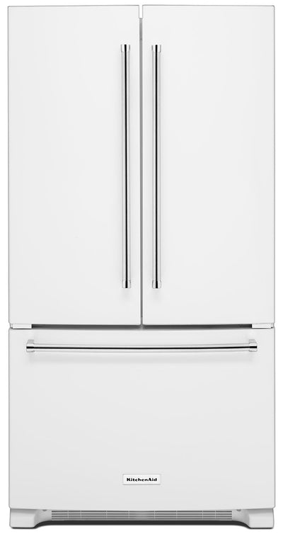 KitchenAid 25 Cu. Ft. French Door Refrigerator with Interior Dispenser - White - Refrigerator with Ice Maker in White