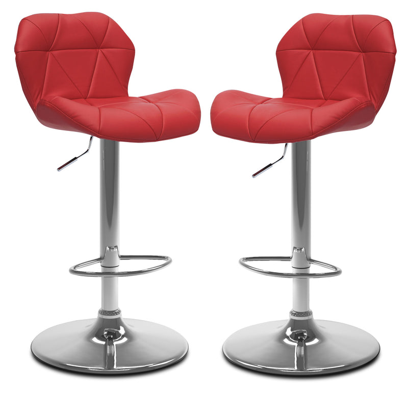 Emry Adjustable Bar Stool, Set of 2 – Red|Tabouret bar réglable Emry, ensemble de 2 - rouge