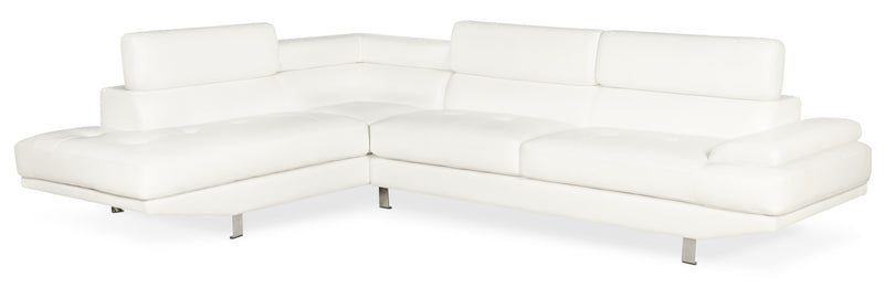 Ozzie 2-Piece Leather-Look Fabric Studio-Size Left-Facing Sectional – White|Sofa sectionnel de gauche Ozzie 2 pièces format studio en tissu d'apparence cuir – blanc