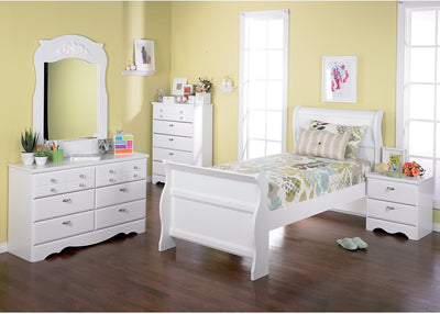 Diamond Dreams 6-Piece Twin Sleigh Bed Package - Traditional style Bedroom Package in White