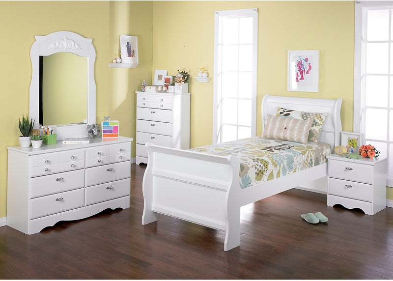 Diamond Dreams 6-Piece Twin Sleigh Bed Package|Ensemble de chambre à coucher Diamond Dreams 6 pièces avec lit-bateau simple