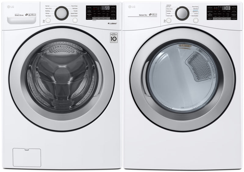 LG 5.2 Cu. Ft. Front-Load Washer and 7.4 Cu. Ft. Gas Dryer with Wi-Fi – White - Laundry Set in White