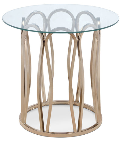 Deon End Table - Glam style End Table in Gold Metal and Glass