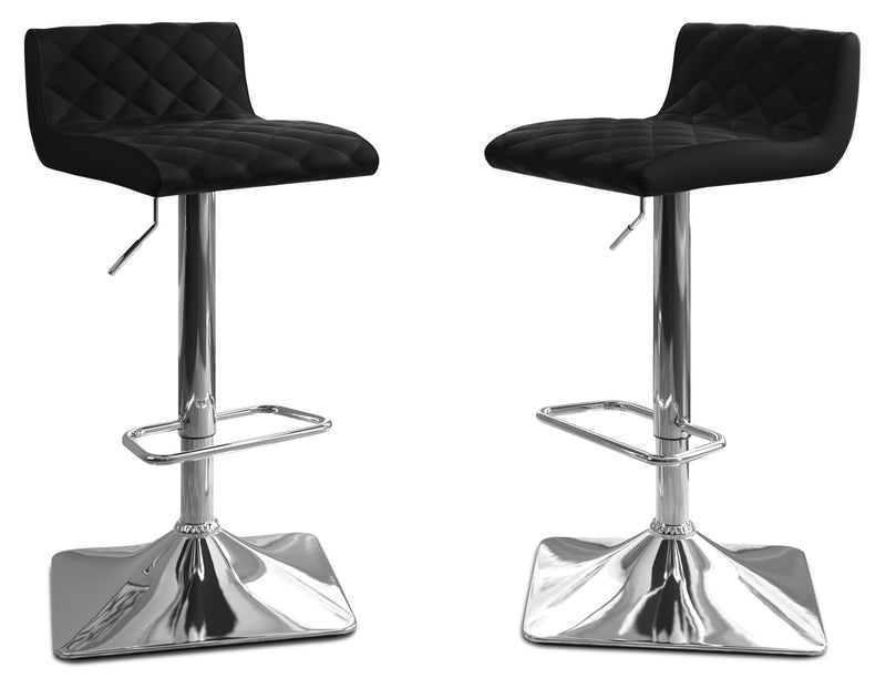 Coen Adjustable Bar Stool, Set of 2 – Black|Tabouret bar réglable Coen, ensemble de 2 - noir