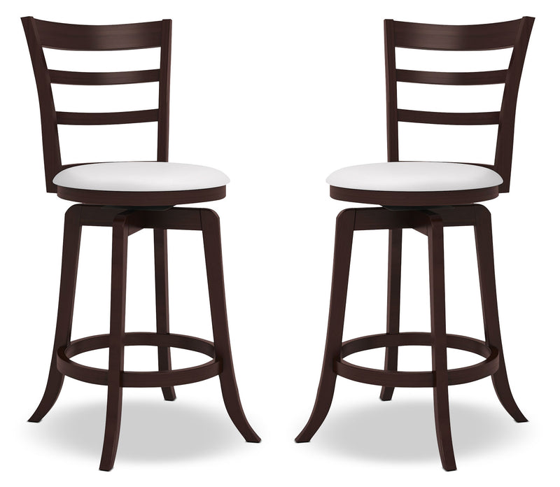 "Woodgrove 38"" Barstool, Set of 2 – Slatted Back