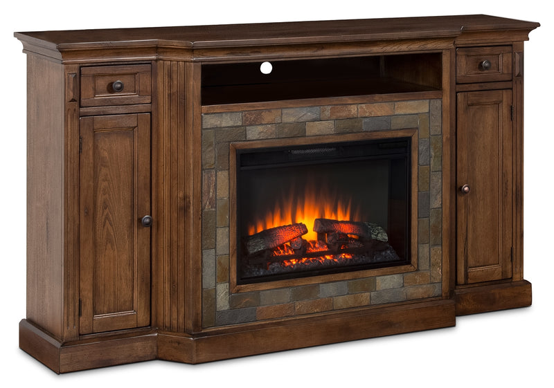 "Cambridge 72"" TV Stand with Log Firebox