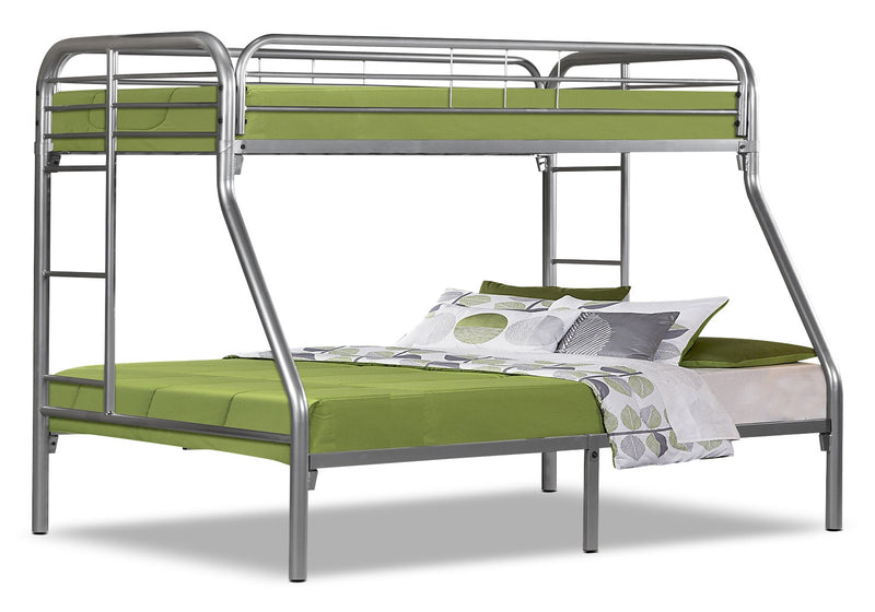 Monarch Twin/Full Bunk Bed – Silver|Lits simple et double superposés Monarch – argentés