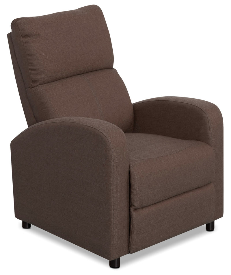 Zeo Linen-Look Fabric Reclining Chair – Brown|Fauteuil inclinable Zeo en tissu d'apparence lin - brun