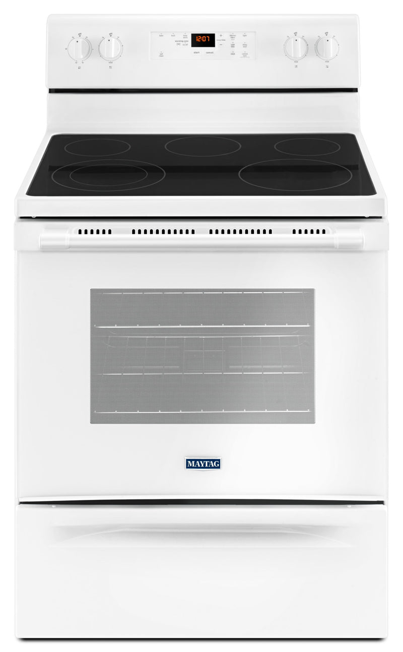 Maytag 5.3 Cu. Ft. Electric Freestanding Range – YMER6600FW|Cuisinière électrique amovible Maytag de 5,3 pi3 – YMER6600FW