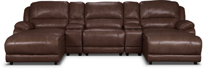 Marco Genuine Leather 5-Piece Sectional with Two Inclining Chaises– Chocolate - Contemporary style Sectional in Brown