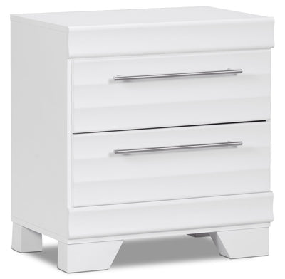 Olivia Nightstand – White - Modern style Nightstand in White Engineered Wood and Laminate Veneers