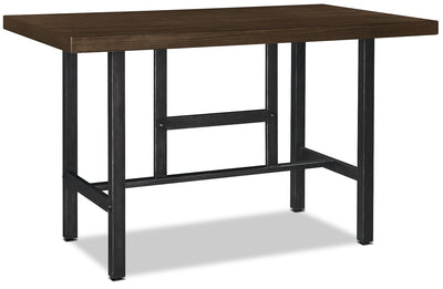 Kavara Counter-Height Table - Industrial style Dining Table in Medium Brown Pine Solids and Metal