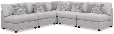 Emma 5-Piece Linen-Look Fabric Modular Sectional – Grey - Contemporary style Sectional in Grey Polyester