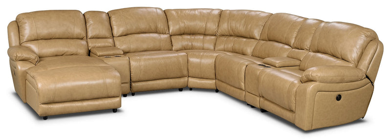 Marco Genuine Leather 7-Piece Sectional – Toffee|Sofa sectionnel Marco 7 pièces en cuir véritable - caramel