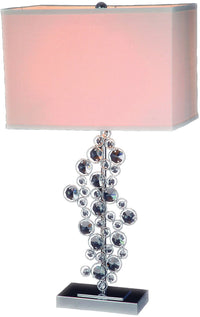Chrome and Crystal Table Lamp|Lampe de table en chrome et ornée de cristal