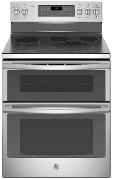 GE 6.6 Cu. Ft. Freestanding Double Oven Self-Cleaning Convection Range – PCB980SJSS|Cuisinière autonettoyante amovible GE de 6,6 pi³ à convection et à double four – PCB980SJSS|PCB980SS