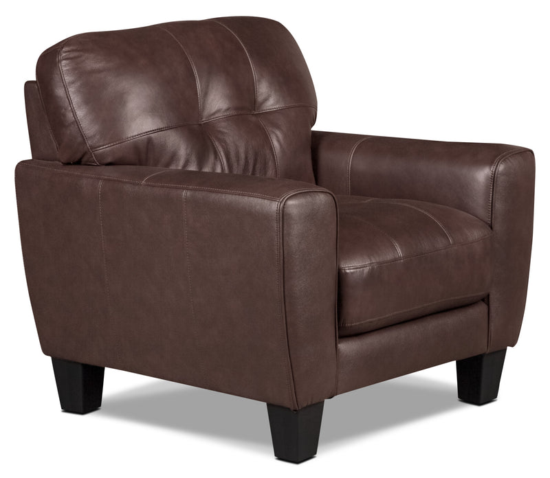 Abby Genuine Leather Chair – Brown|Fauteuil Abby en cuir véritable - brun