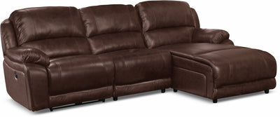Marco Genuine Leather 3-Piece Sectional with Right-Facing Inclining Chaise– Chocolate|Sofa sectionnel Marco 3 pièces en cuir véritable avec fauteuil long inclinable de droite - chocolat|MRCR2SEC3