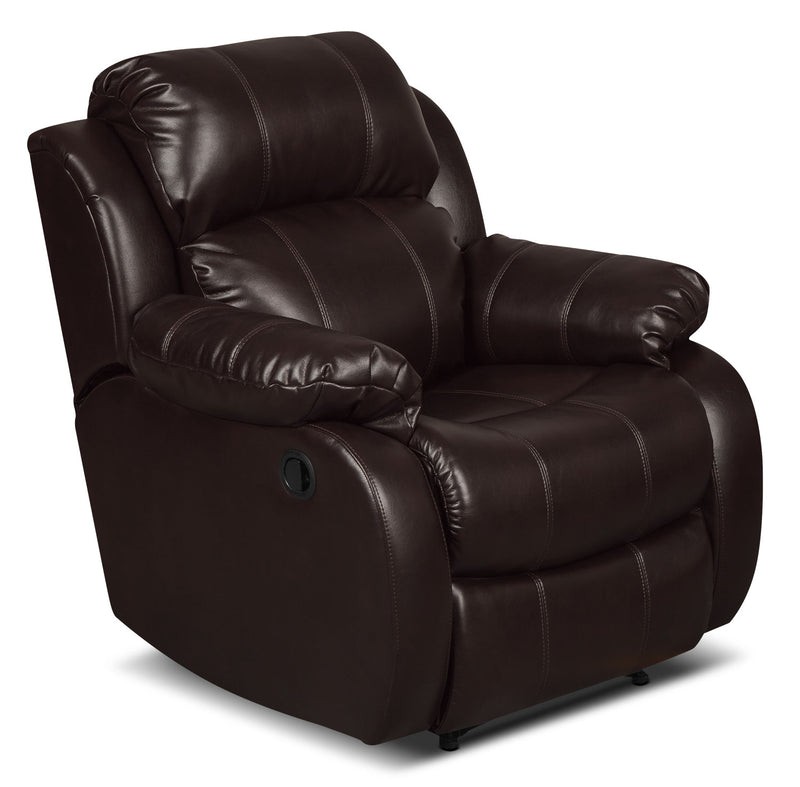 Omega 3 Leather-Look Fabric Reclining Chair – Brown|Fauteuil inclinable Omega 3 en tissu d'apparence cuir – brun