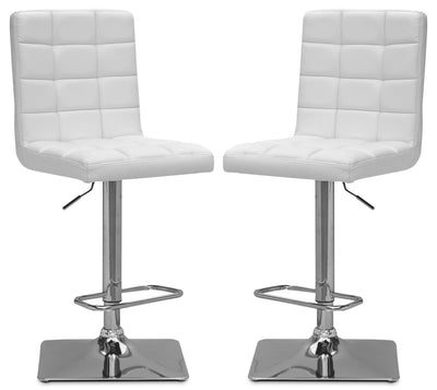 Axel High-Back Adjustable Bar Stool, Set of 2 – White|Tabouret bar réglable Axel à dossier haut, ensemble de 2 - blanc|AXELWTBP
