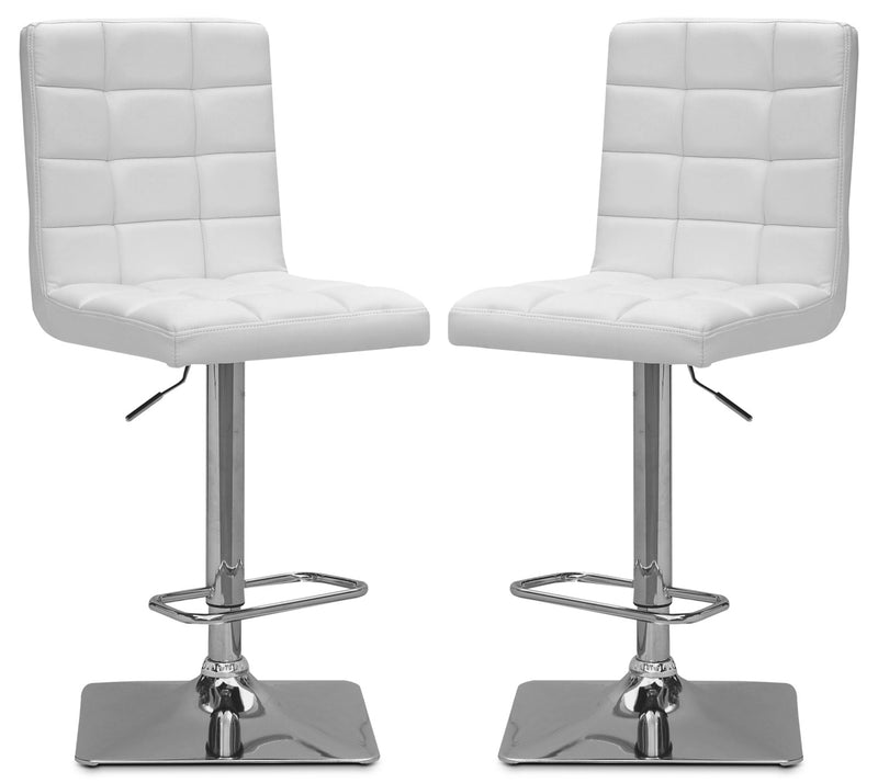 Axel High-Back Adjustable Bar Stool, Set of 2 – White|Tabouret bar réglable Axel à dossier haut, ensemble de 2 - blanc