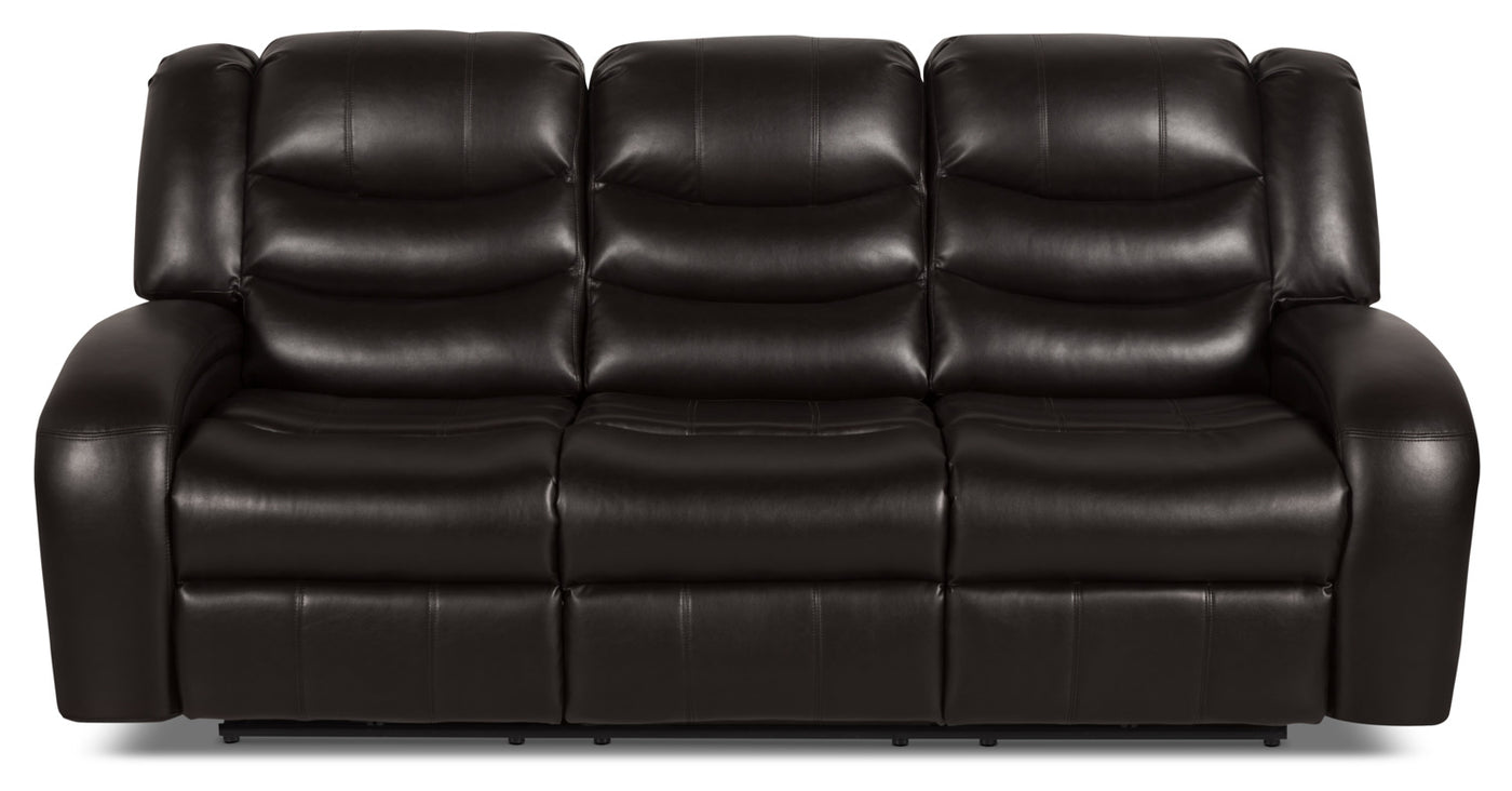 Amazing Angus Leather Look Fabric Reclining Sofa Dark Brown Download Free Architecture Designs Grimeyleaguecom