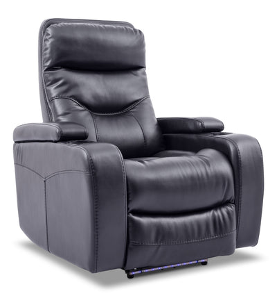 Glow Leather-Look Fabric Power Recliner with Adjustable Headrest – Black - Contemporary style Chair in Black