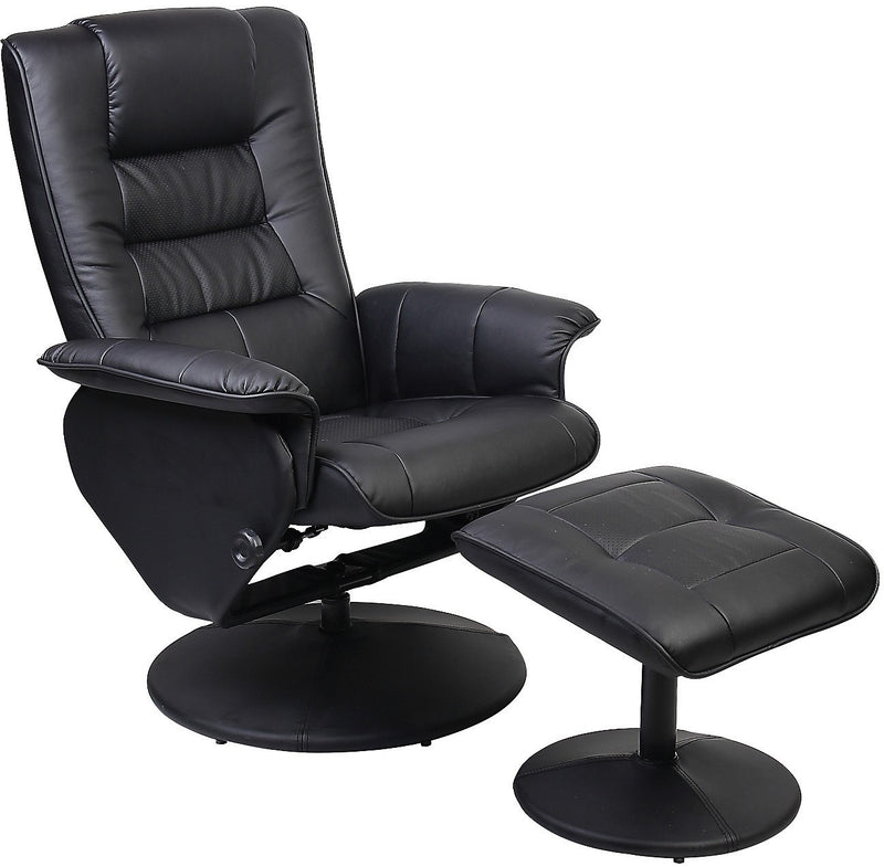 Duncan Reclining Chair w/Ottoman - Black|Fauteuil inclinable Duncan avec pouf|DUNCAN-AC