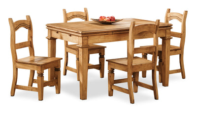 Santa Fe Rusticos 5-Piece Dining Package - Country style Dining Room Set in Pine