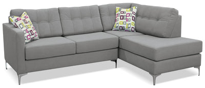 Ivy 2-Piece Linen-Look Fabric Right-Facing Sectional – Grey - Contemporary style Sectional in Grey