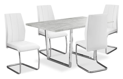Luca 5-Piece Dining Package – White - Modern style Dining Room Set in White Particleboard and Metal
