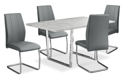 Luca 5-Piece Dining Package – Grey - Modern style Dining Room Set in Grey Particleboard and Metal