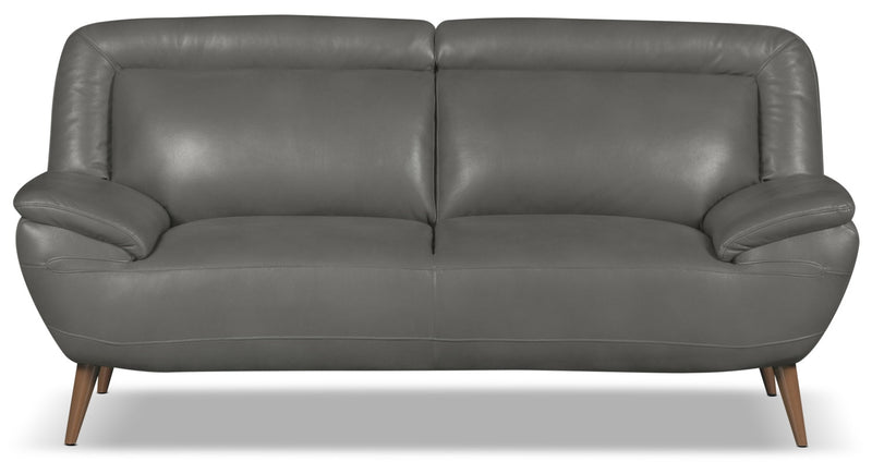 Roxy Leather-Look Fabric Loveseat - Grey|Causeuse Roxy d'apparence cuir - grise