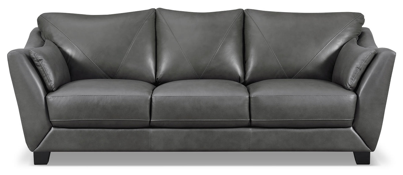 Laken Genuine Leather Sofa – Grey | The Brick