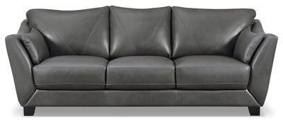 Laken Genuine Leather Sofa – Grey - Modern style Sofa in Grey