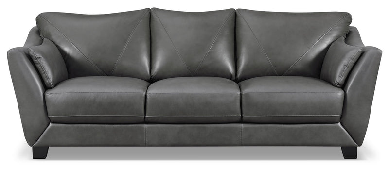 Laken Genuine Leather Sofa Grey The Brick