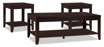 Aspen 3-Piece Coffee and Two End Tables Package - Contemporary style Occasional Table Package in Wood Wood