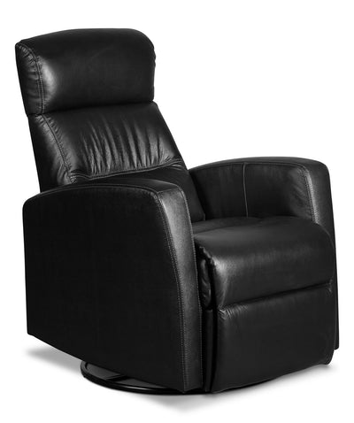 Penny Genuine Leather Swivel Rocker Reclining Chair – Black|Fauteuil berçant inclinable et pivotant Penny en cuir véritable - noir|PENNLBRC