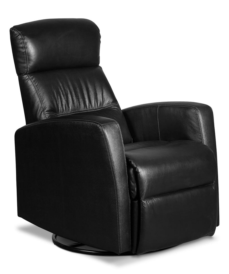 Penny Genuine Leather Swivel Rocker Reclining Chair – Black|Fauteuil berçant inclinable et pivotant Penny en cuir véritable - noir
