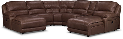 Marco Genuine Leather 6-Piece Sectional with Two Inclining Chaises– Chocolate - Contemporary style Sectional in Brown
