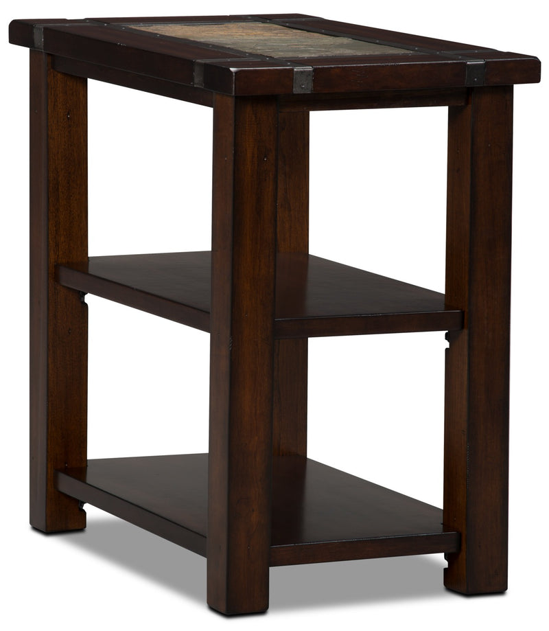 Roanoke Chairside Table - Rustic style End Table in Cherry Wood/Stone