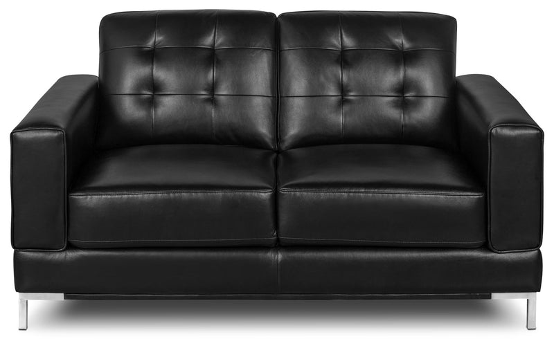 Myer Leather-Look Fabric Loveseat - Black|Causeuse Myer en tissu d'apparence cuir - noire|MYERBKLV