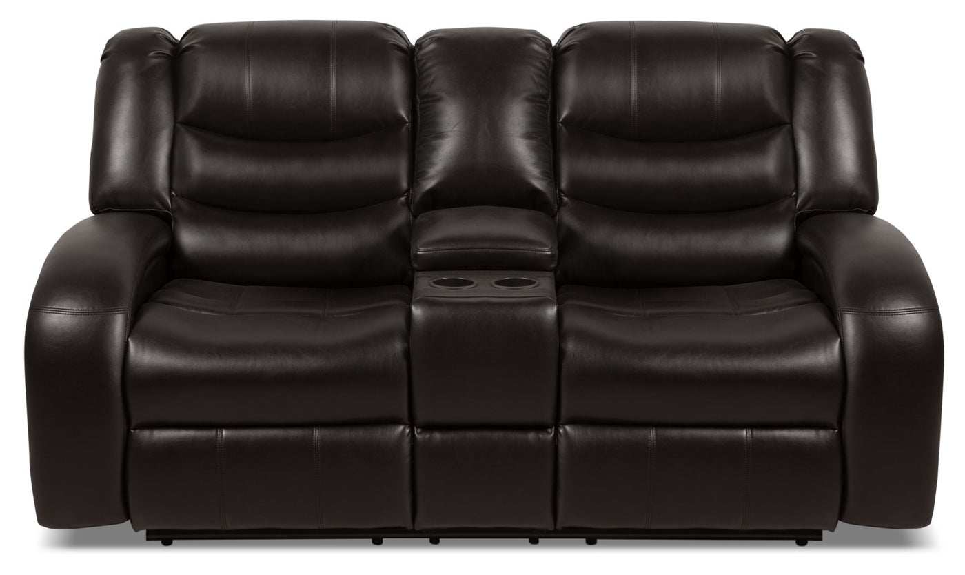 Super Angus Leather Look Fabric Reclining Loveseat Dark Brown Alphanode Cool Chair Designs And Ideas Alphanodeonline