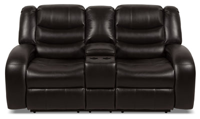 Angus Leather-Look Fabric Reclining Loveseat – Dark Brown - Contemporary style Loveseat in Dark Brown