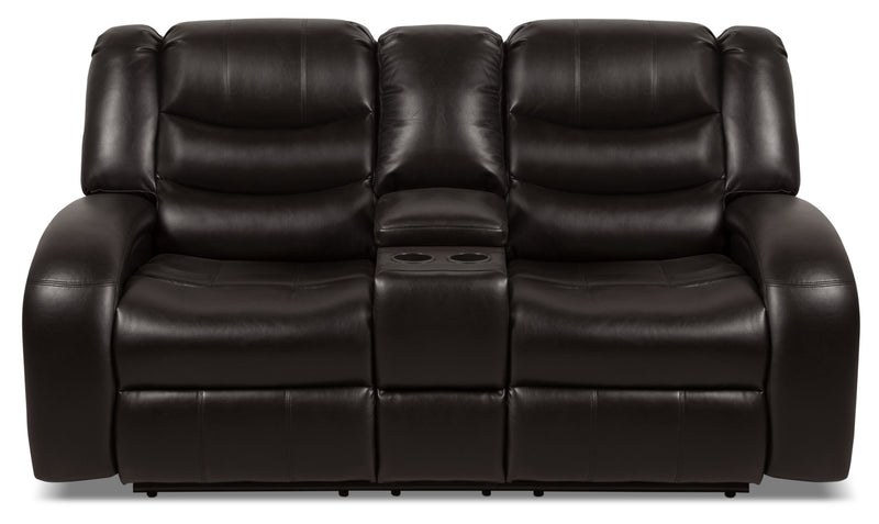 Angus Leather-Look Fabric Reclining Loveseat – Dark Brown|Causeuse inclinable Angus en tissu apparence cuir – brun foncé